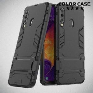 Hybrid Armor Ударопрочный чехол для Samsung Galaxy A60 с подставкой - Черный