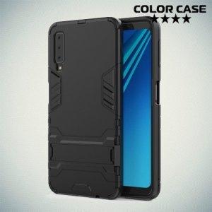 Hybrid Armor Ударопрочный чехол для Samsung Galaxy A7 2018 SM-A750F с подставкой - Черный