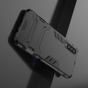 Hybrid Armor Ударопрочный чехол для Samsung Galaxy A70s с подставкой - Черный