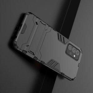 Hybrid Armor Ударопрочный чехол для Samsung Galaxy A72 с подставкой - Черный
