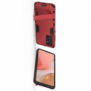 Hybrid Armor Ударопрочный чехол для Samsung Galaxy A72 с подставкой - Красный