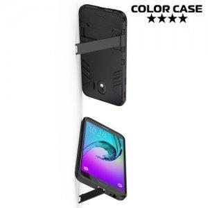 Hybrid Armor Ударопрочный чехол для Samsung Galaxy J4 2018 SM-J400F с подставкой - Черный