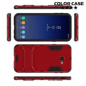Hybrid Armor Ударопрочный чехол для Samsung Galaxy J4 Plus с подставкой - Красный