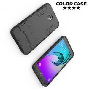Hybrid Armor Ударопрочный чехол для Samsung Galaxy J7 2018 с подставкой - Черный