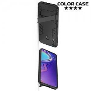 Hybrid Armor Ударопрочный чехол для Samsung Galaxy M20 с подставкой - Черный