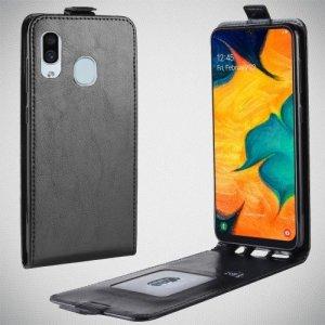 Флип чехол книжка вертикальная для Samsung Galaxy A30 / A20 - Черный