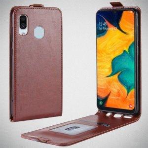 Флип чехол книжка вертикальная для Samsung Galaxy A30 / A20 - Коричневый