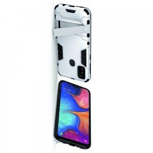Hybrid Armor Ударопрочный чехол для Samsung Galaxy M30s с подставкой - Серебряный