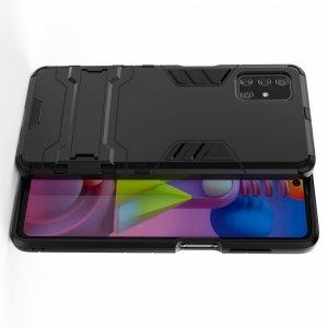 Hybrid Armor Ударопрочный чехол для Samsung Galaxy M51 с подставкой - Черный