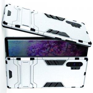 Hybrid Armor Ударопрочный чехол для Samsung Galaxy Note 10 Plus / 10+ с подставкой - Серебряный