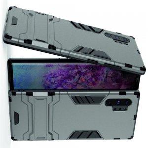 Hybrid Armor Ударопрочный чехол для Samsung Galaxy Note 10 Plus / 10+ с подставкой - Серый