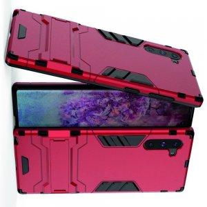 Hybrid Armor Ударопрочный чехол для Samsung Galaxy Note 10 с подставкой - Красный