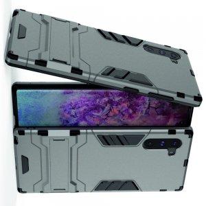 Hybrid Armor Ударопрочный чехол для Samsung Galaxy Note 10 с подставкой - Серый