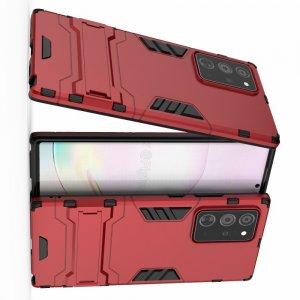 Hybrid Armor Ударопрочный чехол для Samsung Galaxy Note 20 Plus с подставкой - Красный