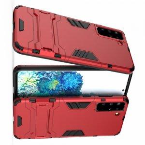 Hybrid Armor Ударопрочный чехол для Samsung Galaxy S21 Plus / S21+ с подставкой - Красный