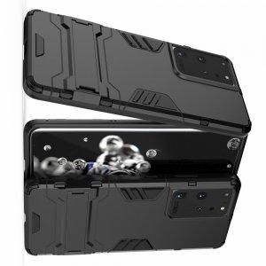 Hybrid Armor Ударопрочный чехол для Samsung Galaxy S21 Ultra с подставкой - Черный