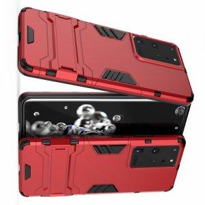 Hybrid Armor Ударопрочный чехол для Samsung Galaxy S21 Ultra с подставкой - Красный