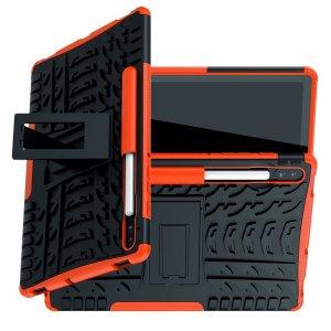 Hybrid Armor Ударопрочный чехол для Samsung Galaxy Tab S6 SM-T865 SM-T860 с подставкой - Оранжевый