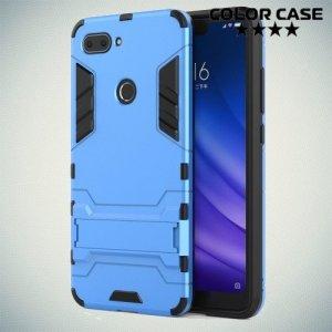 Hybrid Armor Ударопрочный чехол для Xiaomi Mi 8 Lite с подставкой - Синий