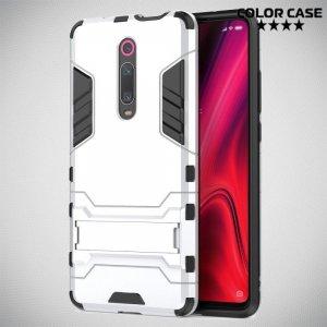 Hybrid Armor Ударопрочный чехол для Xiaomi Mi 9T с подставкой - Серебряный