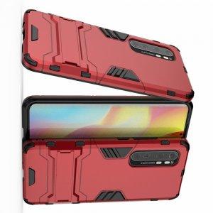Hybrid Armor Ударопрочный чехол для Xiaomi Mi Note 10 Lite с подставкой - Красный