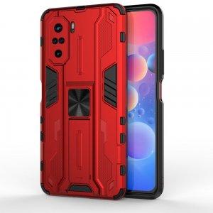 Hybrid Armor Ударопрочный чехол для Xiaomi POCO F3 с подставкой - Красный