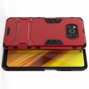 Hybrid Armor Ударопрочный чехол для Xiaomi Poco X3 NFC с подставкой - Красный
