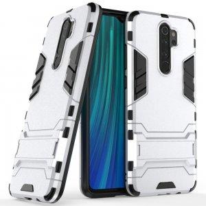 Hybrid Armor Ударопрочный чехол для Xiaomi Redmi Note 8 Pro с подставкой - Серебряный