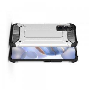 Hybrid двухкомпонентный противоударный чехол для Huawei Honor 30 - Серебряный