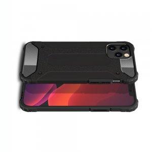 Hybrid двухкомпонентный противоударный чехол для iPhone 12 / 12 Pro - Черный