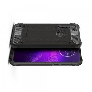 Hybrid двухкомпонентный противоударный чехол для Motorola Moto G8 - Черный
