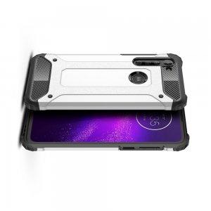 Hybrid двухкомпонентный противоударный чехол для Motorola Moto G8 - Серебряный