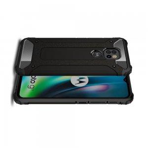 Hybrid двухкомпонентный противоударный чехол для Motorola Moto G9 Play / Moto E7 Plus - Черный