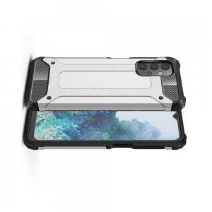 Hybrid двухкомпонентный противоударный чехол для Samsung Galaxy A32 - Серебряный