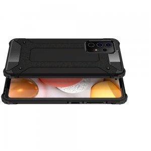 Hybrid двухкомпонентный противоударный чехол для Samsung Galaxy A52 - Черный