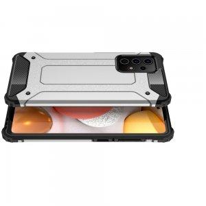 Hybrid двухкомпонентный противоударный чехол для Samsung Galaxy A52 - Серебряный