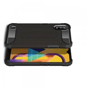 Hybrid двухкомпонентный противоударный чехол для Samsung Galaxy M01 - Черный