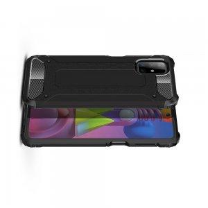 Hybrid двухкомпонентный противоударный чехол для Samsung Galaxy M51 - Черный