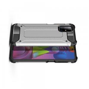 Hybrid двухкомпонентный противоударный чехол для Samsung Galaxy M51 - Серебряный