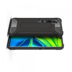 Hybrid двухкомпонентный противоударный чехол для Xiaomi Mi Note 10 Lite - Черный