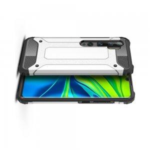 Hybrid двухкомпонентный противоударный чехол для Xiaomi Mi Note 10 Lite - Серебряный