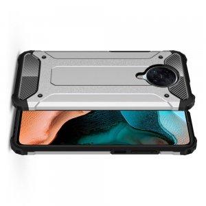 Hybrid двухкомпонентный противоударный чехол для Xiaomi Poco F2 Pro - Серебряный