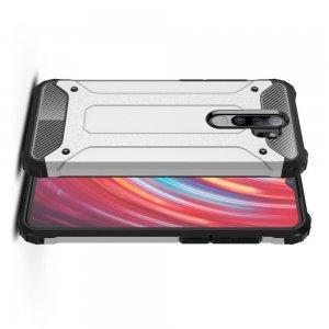 Hybrid двухкомпонентный противоударный чехол для Xiaomi Redmi Note 8 Pro - Серебряный