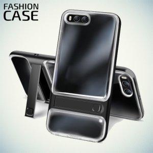 Прозрачный чехол с пластиковый бампером для Xiaomi Mi 6 - Черный