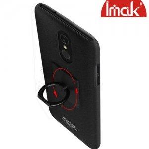 IMAK Cowboy Пластиковый чехол с кольцом подставкой и защитной пленкой для LG Q7 / Q7+ / Q7α - Песочно-Черный
