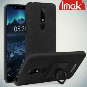 IMAK Cowboy Пластиковый чехол с кольцом подставкой и защитной пленкой для Nokia 5.1 Plus - Песочно-Черный
