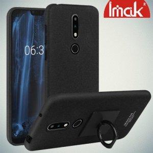 IMAK Cowboy Пластиковый чехол с кольцом подставкой и защитной пленкой для Nokia 6.1 Plus / X6 2018 - Песочно-Черный