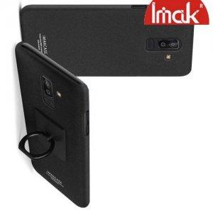 IMAK Cowboy Пластиковый чехол с кольцом подставкой и защитной пленкой для Samsung Galaxy J8 2018 - Песочно-Черный