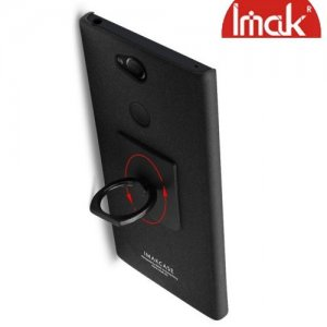 IMAK Cowboy Пластиковый чехол с кольцом подставкой и защитной пленкой для Sony Xperia XA2 Plus - Песочно-Черный
