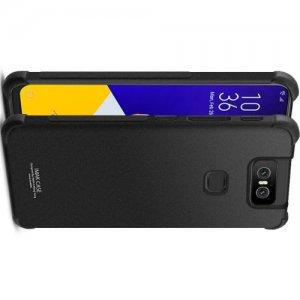 IMAK Shockproof силиконовый защитный чехол для Asus Zenfone 6 ZS630KL песочно-черный и защитная пленка